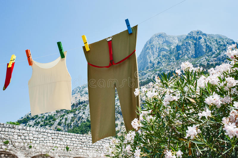 Download Fresh Linen On Line In Mounteins Stock Image - Image: 25854177