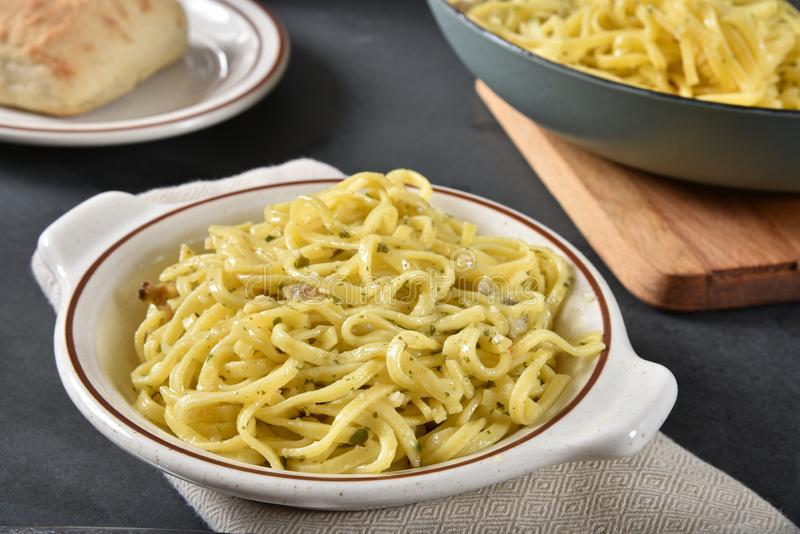 Fresh Linguine with Clam Sauce. Bowl of fresh cooked, homemade linguine with clam sauce stock photography