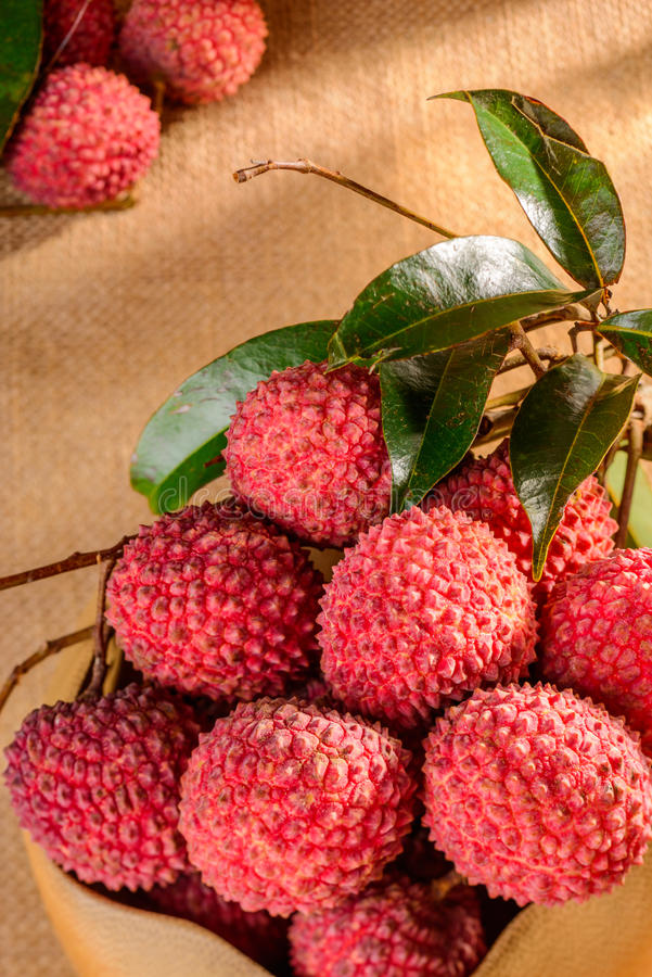 Fresh litchi. In the bowl stock photos