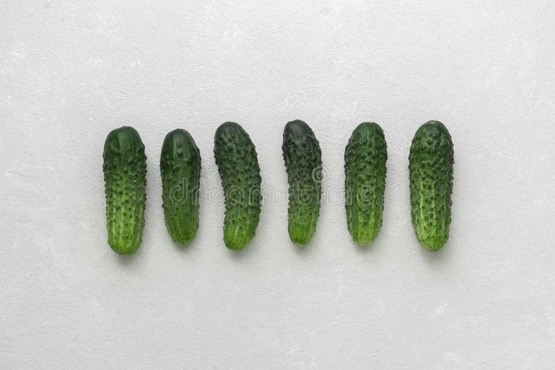 Fresh little ugly green cucumbers on white background. Real organic food. Top view royalty free stock images