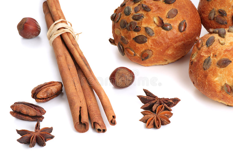 Fresh Loaf With Spices Stock Images
