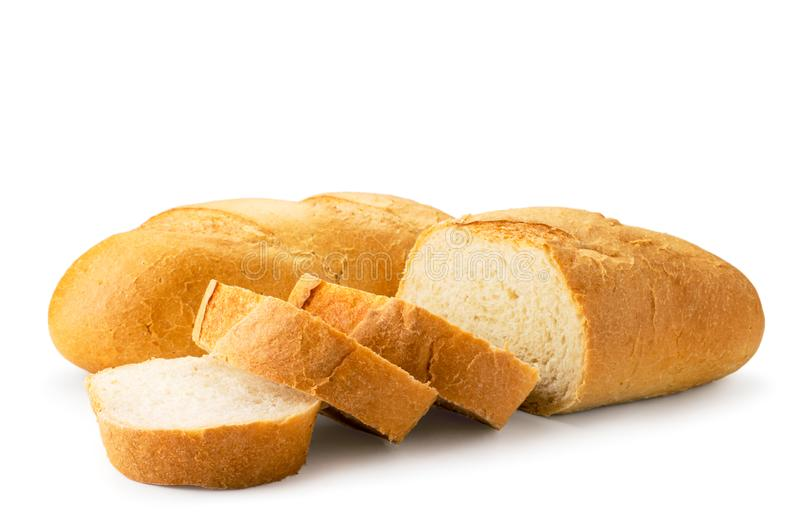 Fresh loaves of bread sliced in close-up on a white. isolated. royalty free stock images