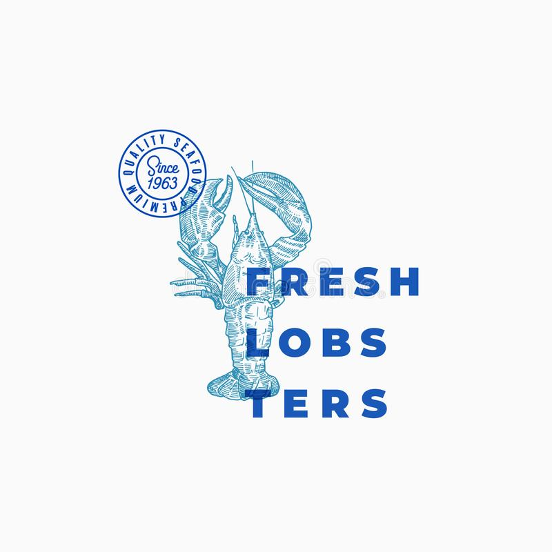 Fresh Lobsters Abstract Vector Sign, Symbol or Logo Template. Hand Drawn Grayfish or Lobster with Classy Modern stock illustration