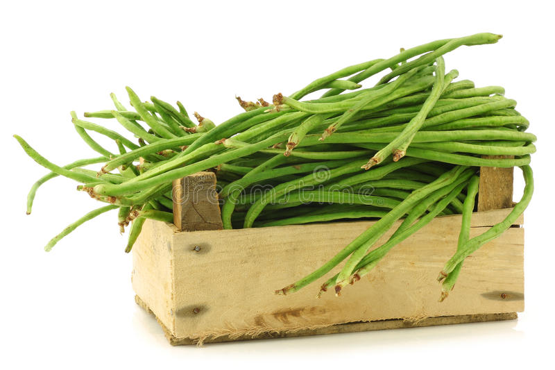 Fresh long beans in a wooden crate. Fresh long beans(Vigna unguiculata subsp. sesquipedalis) in a wooden crate on a white background stock photos