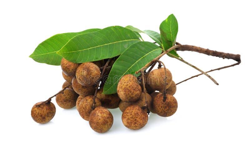 Fresh longan Dimocarpus longan fruits isolated on white, Thai royalty free stock image