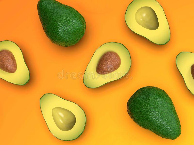 Fresh looking green avocado fruits, whole and cut, on orange stock illustration
