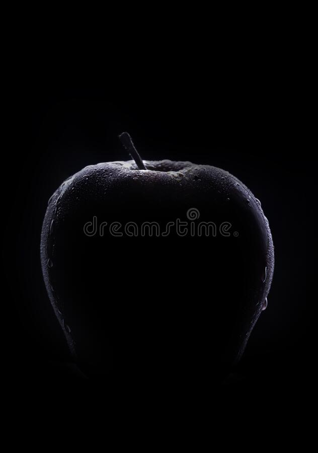 Fresh Low Key Apple. Dark red and fresh healthy apple portrait with low key lighting royalty free stock image