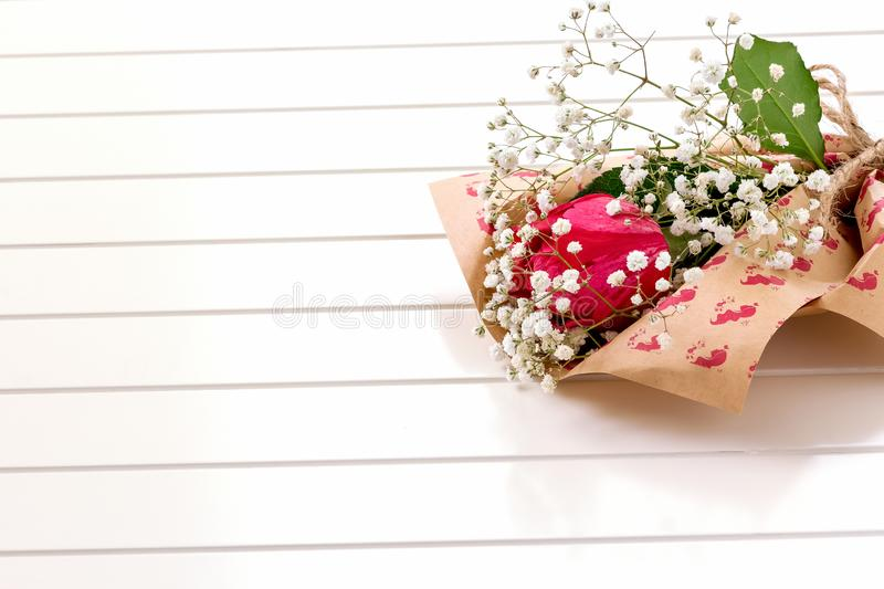 Fresh, lush bouquet of single Rose and Gypsophila on white background. Happy birthday, valentines day or women` day of 8 march con stock photography
