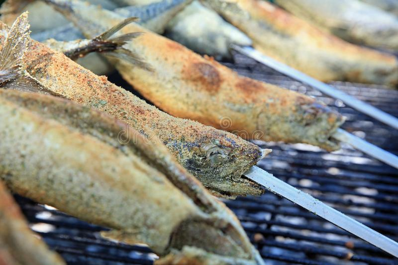 Fresh Mackerel on Stick at Barbecue Party stock photography