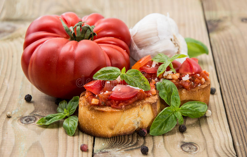 Fresh Made Bruschetta With Ingredients Stock Photo