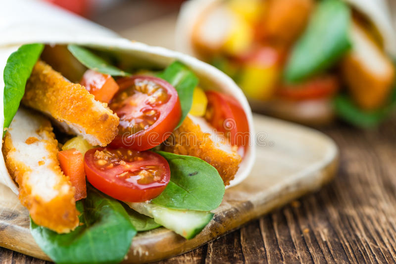 Fresh made Chicken Wraps selective focus royalty free stock images