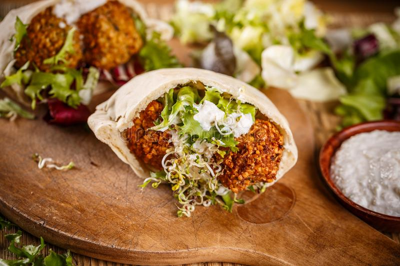 Fresh made falafel sandwich royalty free stock photography