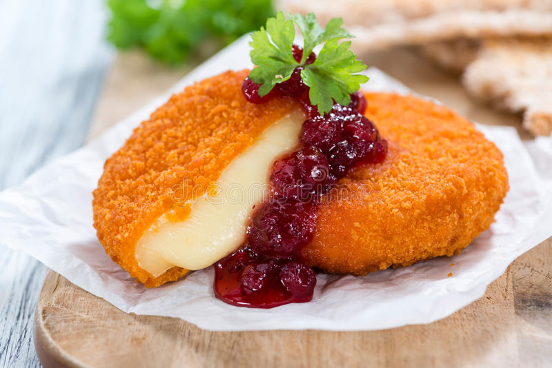 Fresh made Fried Camembert stock image