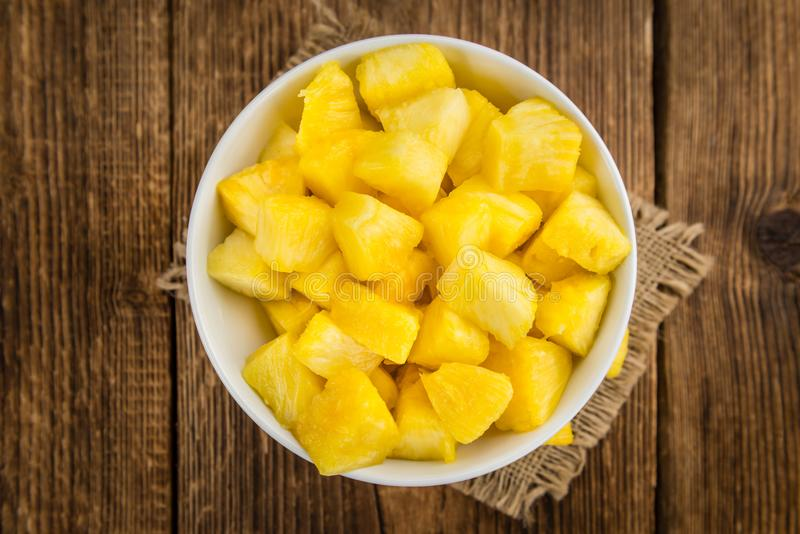 Sliced Pineapple close-up shot, selective focus royalty free stock photo