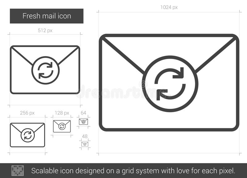 Fresh mail line icon. Fresh mail vector line icon on white background. Fresh mail line icon for infographic, website or app. Scalable icon designed on a grid stock illustration