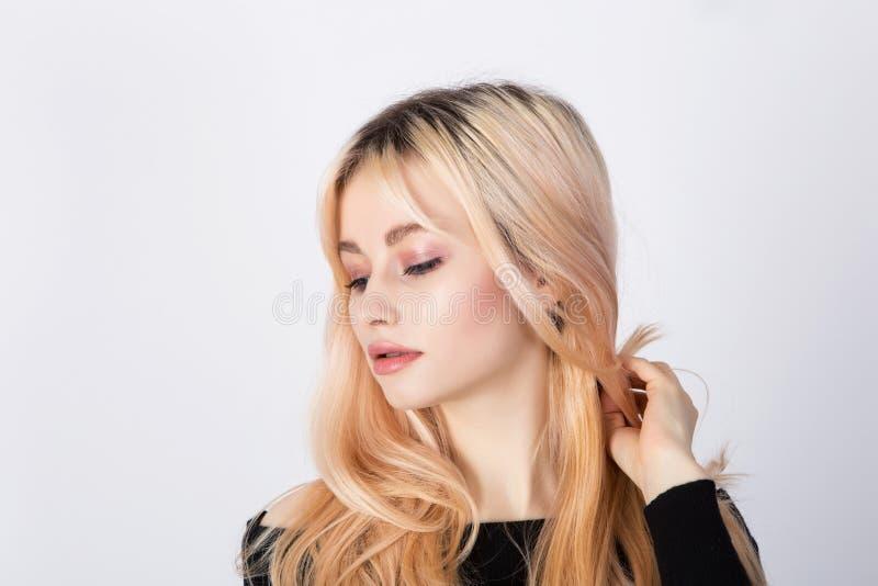 Fresh make up, pink eye shadows and soft lips stock photos