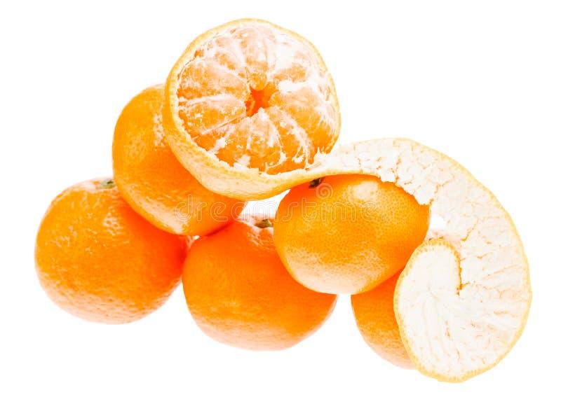 Fresh mandarin citrus isolated tangerine mandarine orange in heap on white background royalty free stock photo