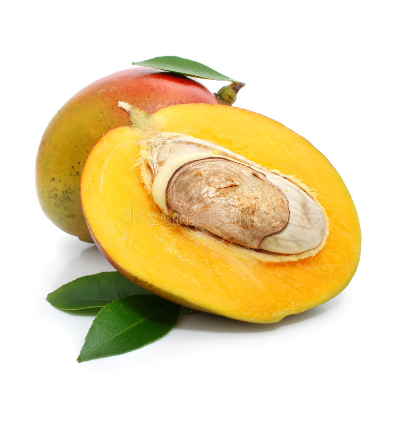 Fresh mango fruit with green leafs royalty free stock photos