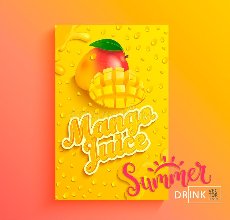 Fresh mango juice. Fresh mango juice banner with drops from condensation, splashing and fruit slice on gradient hot summer background for brand,logo, template royalty free illustration