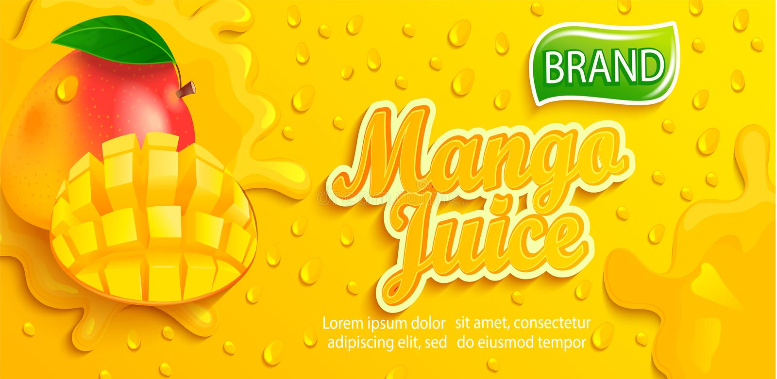Fresh mango juice splash banner with apteitic drops. From condensation, fruit slice on gradient yellow background for brand,logo, template,label,emblem,store royalty free illustration