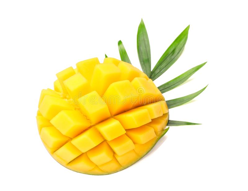 Fresh mango with palm leaf isolated on white background stock images