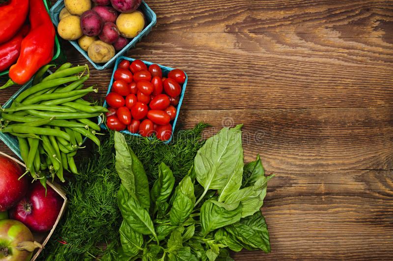 Fresh market fruits and vegetables stock photos