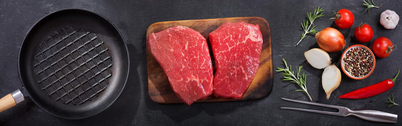 Fresh meat with ingredients for cooking, top view royalty free stock photography