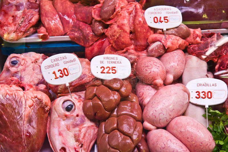 Fresh meat at a market in Barcelona, Spain. Fresh meat at market in Barcelona, Spain stock photos