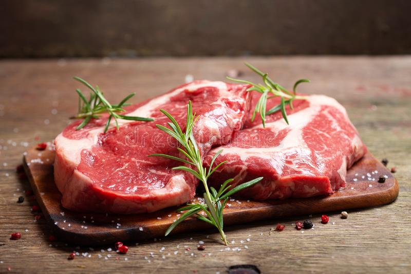 Fresh meat with rosemary royalty free stock images