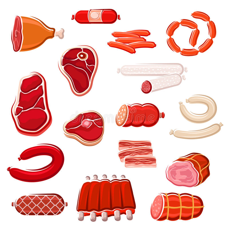 Fresh meat and sausage icon set for food design stock illustration