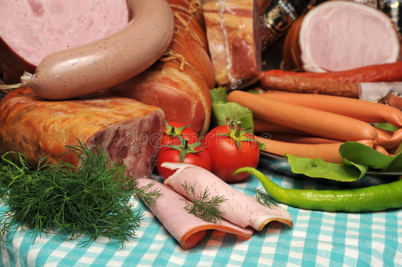 fresh meat and sausages stock images