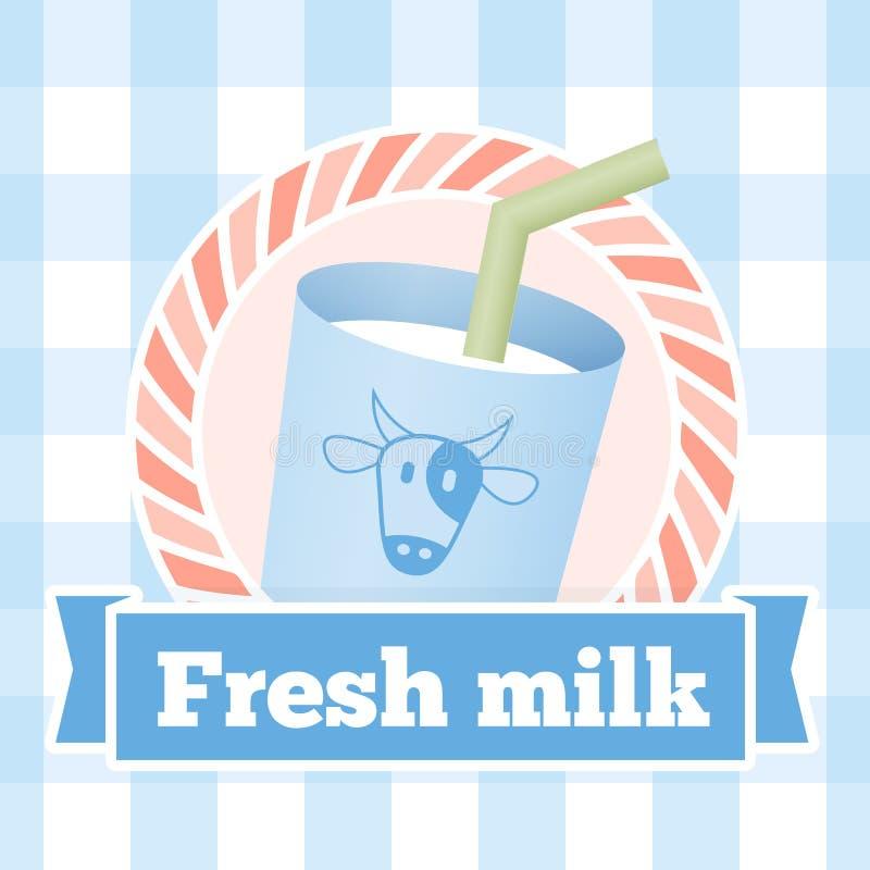 Fresh milk bottle label on seamless pattern background royalty free illustration