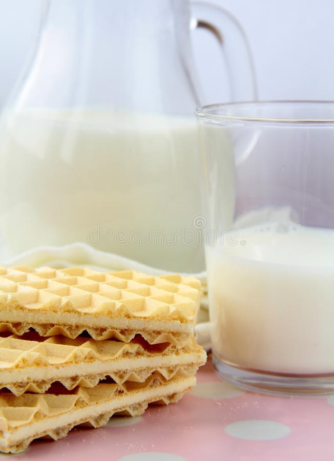 Fresh milk and cookies stock photo