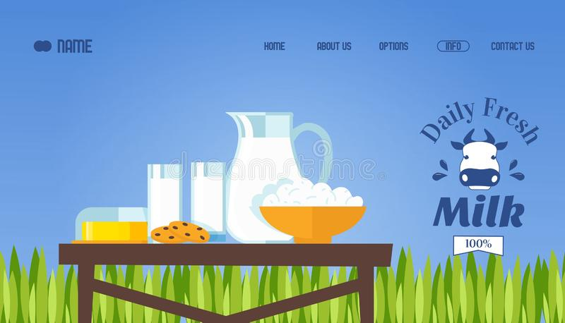 Fresh milk and dairy products, vector illustration. Website template, landing page design. Daily fresh organic food from. Local farmers, milk, butter and vector illustration