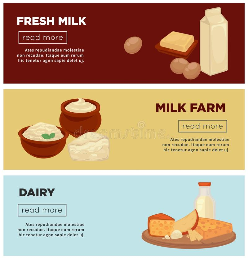 Fresh milk from farm and dairy products internet posters royalty free illustration