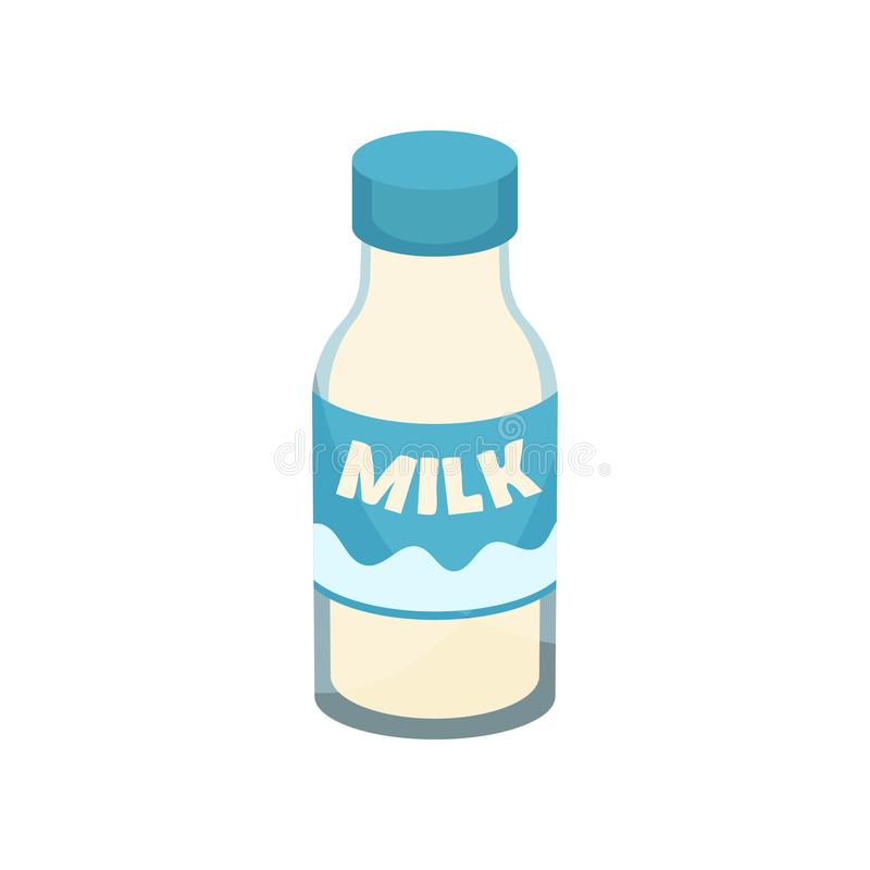 Fresh milk in glass bottle. Healthy beverage. Dairy product. Tasty drink. Flat vector element for poster of grocery royalty free illustration
