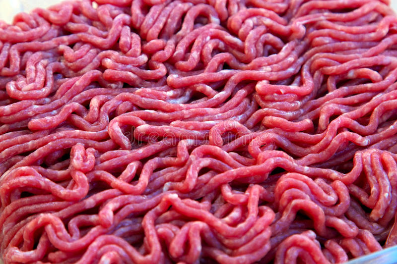 Fresh minced beef. Close up of fresh minced beef ready for cooking stock photo