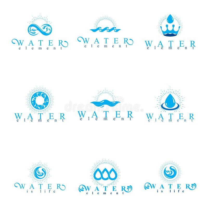 Free Fresh Mineral Water Design Emblems Like Water Drops, H2O Symbols Stock Image - 112263241