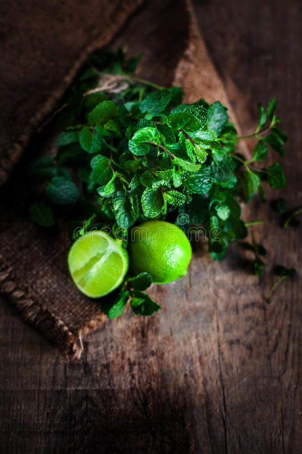 Fresh mint leaves herb and lime on dark wooden table. Top view stock image