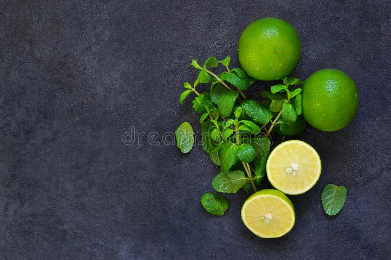 Fresh mint, lime and ice on a black background. royalty free stock photos