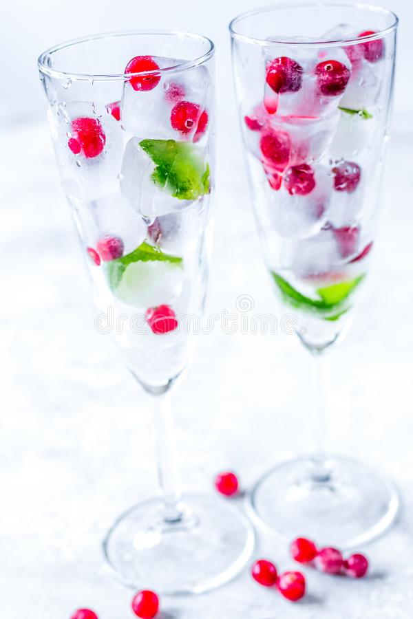 Mint and red berries in ice cubes in glasses white background stock photography