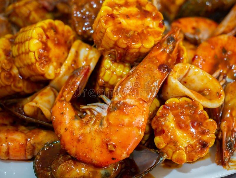 Cajun mixed seafood royalty free stock photography