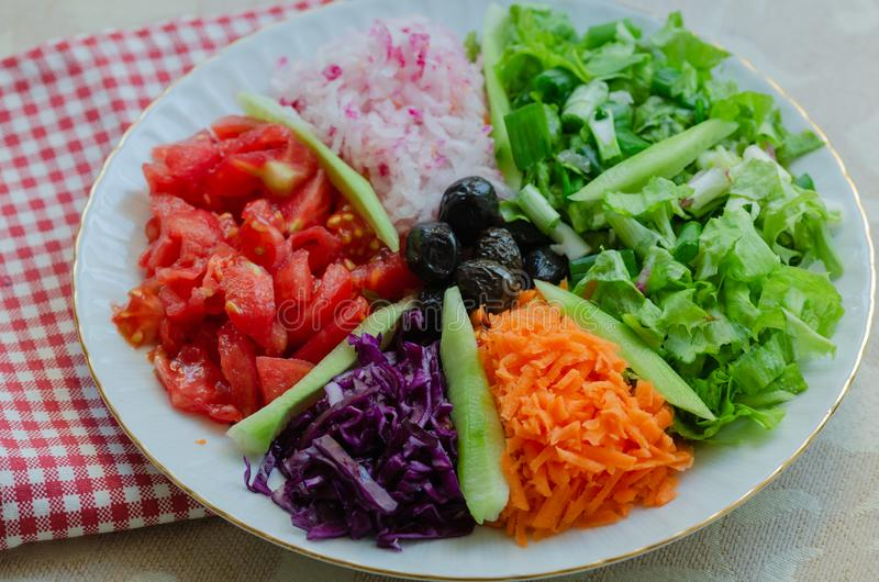 Fresh mixed vegetables salad. Selective focus,top view. royalty free stock images