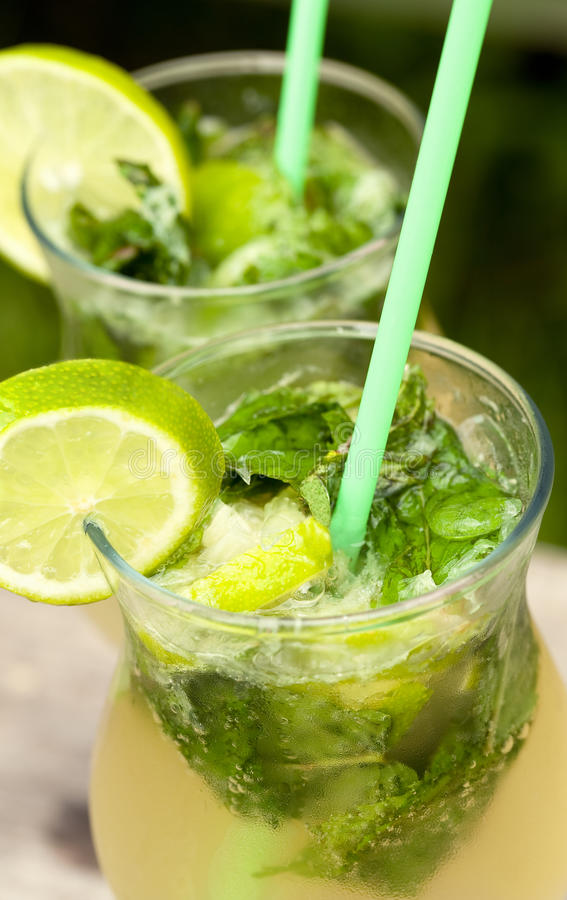 Fresh mojito cocktail. In glass tumblers royalty free stock photos