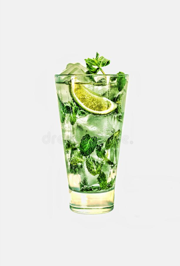 Fresh mojito cocktail isolated on white background. stock images