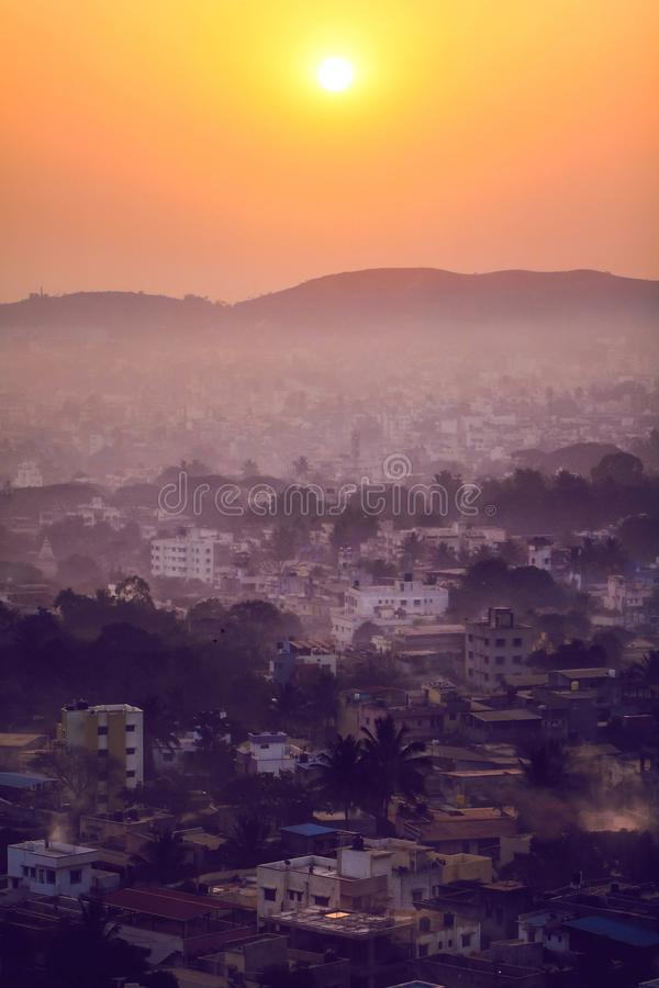 Fresh morning in an Indian City. With fog and different layers royalty free stock images