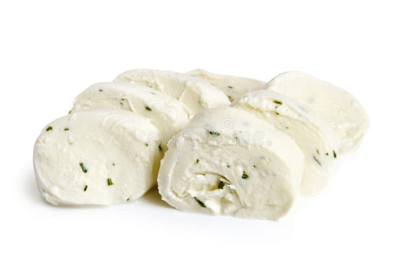 Fresh mozzarella with basil. On a white background royalty free stock image