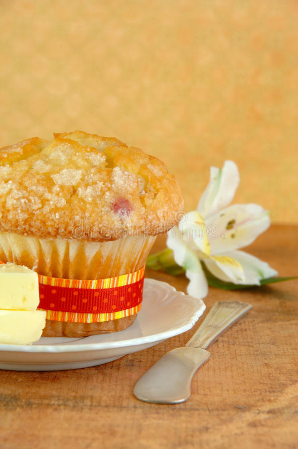 Fresh Muffin with Butter stock image