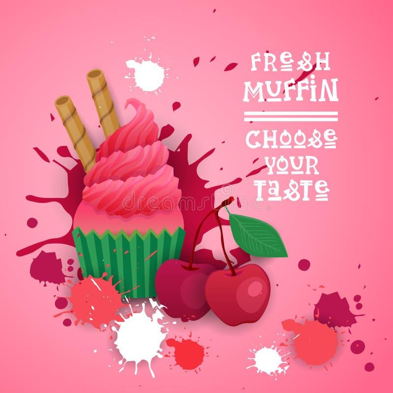 Fresh Muffin Choose Your Taste Logo Cake Sweet Beautiful Cupcake Dessert Delicious Food stock illustration