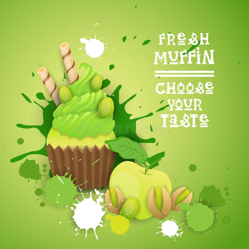 Fresh Muffin Choose Your Taste Logo Cake Sweet Beautiful Cupcake Dessert Delicious Food. Flat Vector Illustration stock illustration